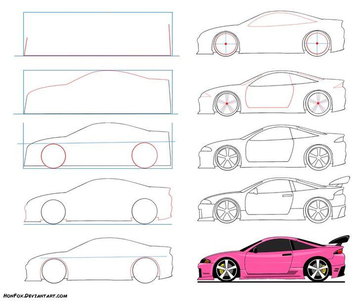 Легкие рисунки машины гоночные