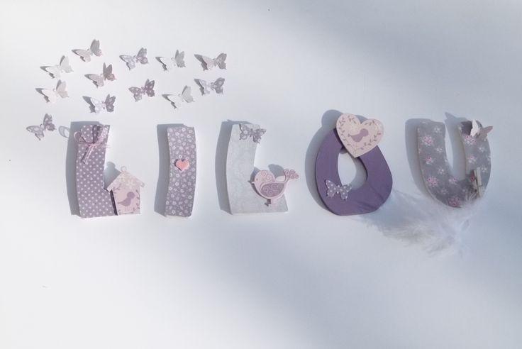"""5 LETTRES PRENOM LILOU THEME """"NICHOIR"""" : Décoration pour enfants par joli-mai"""