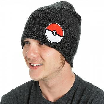 Pokemon Beanie - Pokeball Black Slouch