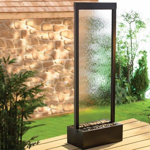 Garden Outdoor Fountain   Clear Glass/Dark Copper Frame   The BluWorld 48  In. Gardenfall Outdoor Garden Fountain U2013Clear Glass/Dark Copper Frame Adds  Beauty ...