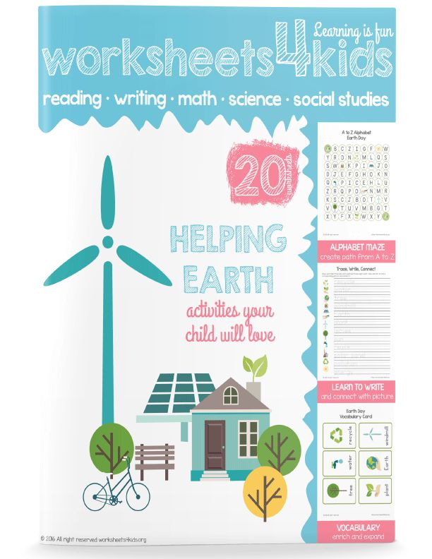 With this Earth Day worksheets, kindergarten student will learn about the Earth day and how they can help the Earth. Reading and writing activities, math and brain teasers, fun printable games and more.  You child will love to work on these worksheets. Great for after school activity as well!