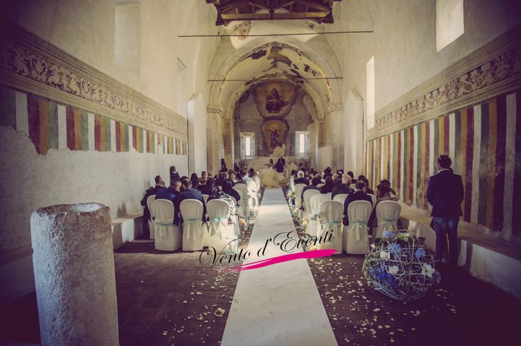 Civil ceremony in a deconsecrated church in an ancient monastery, wedding near Rome