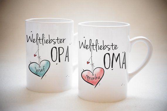 World's favorite Grandma & World's best Grandpa-cup set, mug, coffee mug, cocoa cup, tea, individual, name, gift, Christmas present
