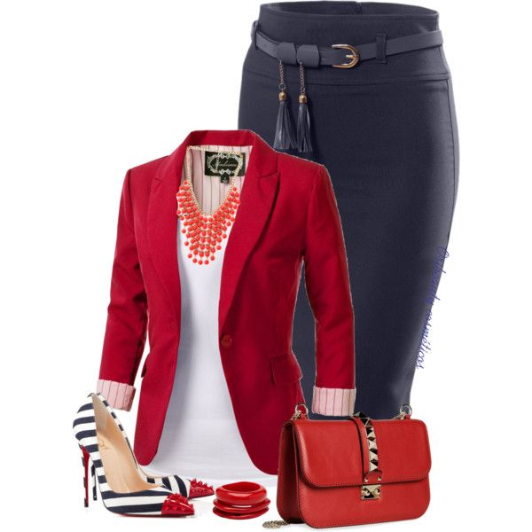 Navy, Red & White by oribeauty-cosmeticos on Polyvore featuring polyvore fashion style Christian Louboutin Valentino Forever 21 Mimco