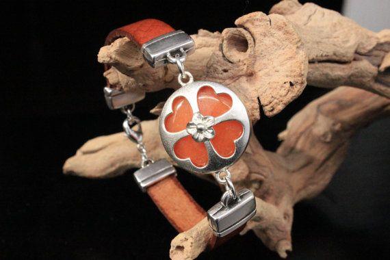 Leather Bracelet Silver Plated Orange Jade by PepperPotLeatherShop, $49.99