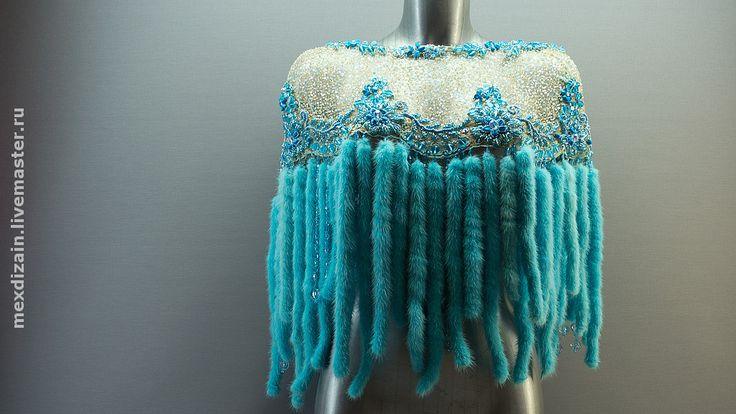 """Купить болеро """"OCEAN BEADS"""" - ocean beads, mexdizain, подарок 2012, бирюзовый, болеро, накидка"""