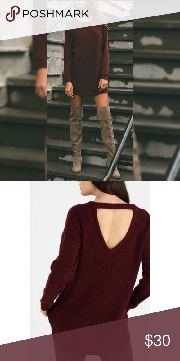 CYBER MONDAY ✨ Oxblood Cut Out V Back Sweater Oxblood Maroon Burgundy 🍂🍂 Cable Knit Oversize Cut Out V Back Open Backless Sweater ❤️NWOT. Warm, Cozy & Soft. Size is S/M. (Small & Medium.) Yeezy Sweaters