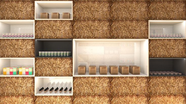 straw bale cosmetics boutique by hornowski design in poland
