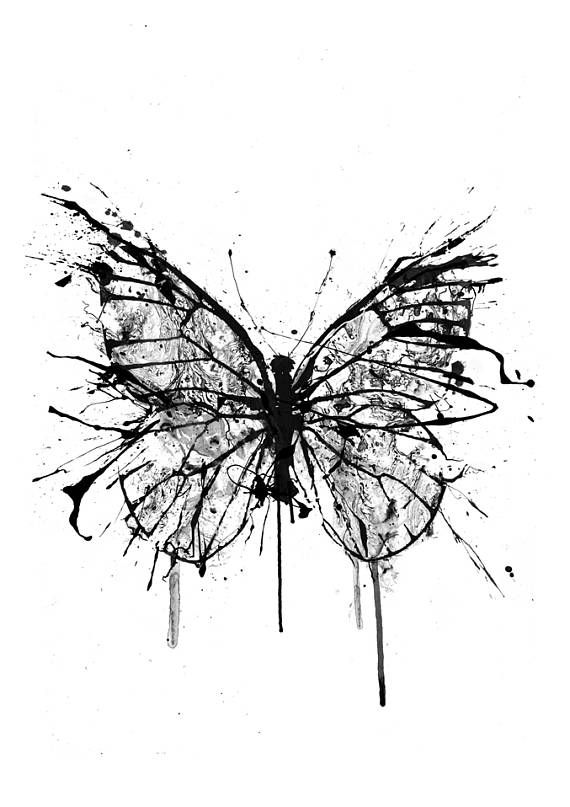 Damaged Butterfly, Butterfly Artwork, Ink Drawing, Butterfly Wall Artwork, Butterfly Poster, Giant Wall Artwork, Nature Artwork, Black And White Artwork, Messy