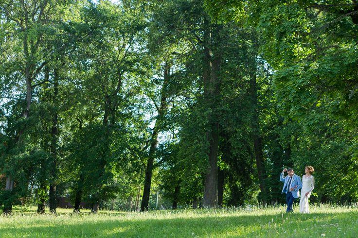 Молодожены прогуливаются в старинном парке под 200-летними деревьями
