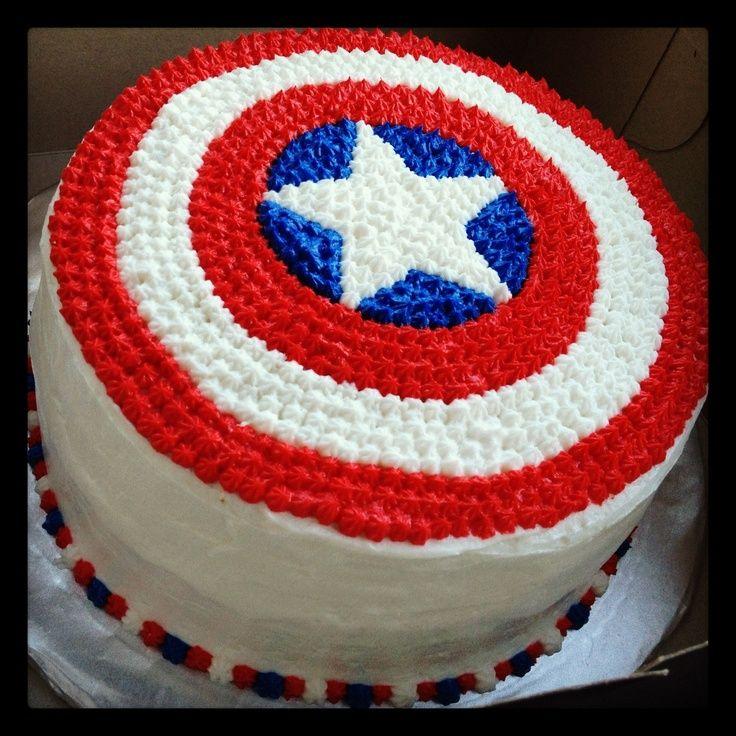 captain america birthday cake | Awesome man birthday cake! Captain America cake :)