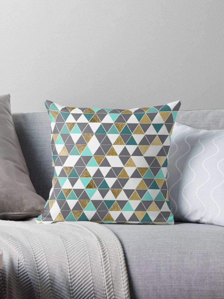 This modern and trendy slate gray, white, teal, and faux printed gold triangles geometric pattern is perfect for the stylish and unique individual. It's contemporary and cool print is great for many gifts and occasions. Enjoy this simple and chic design for your next purchase! • Also buy this artwork on home decor, apparel, phone cases, and more.