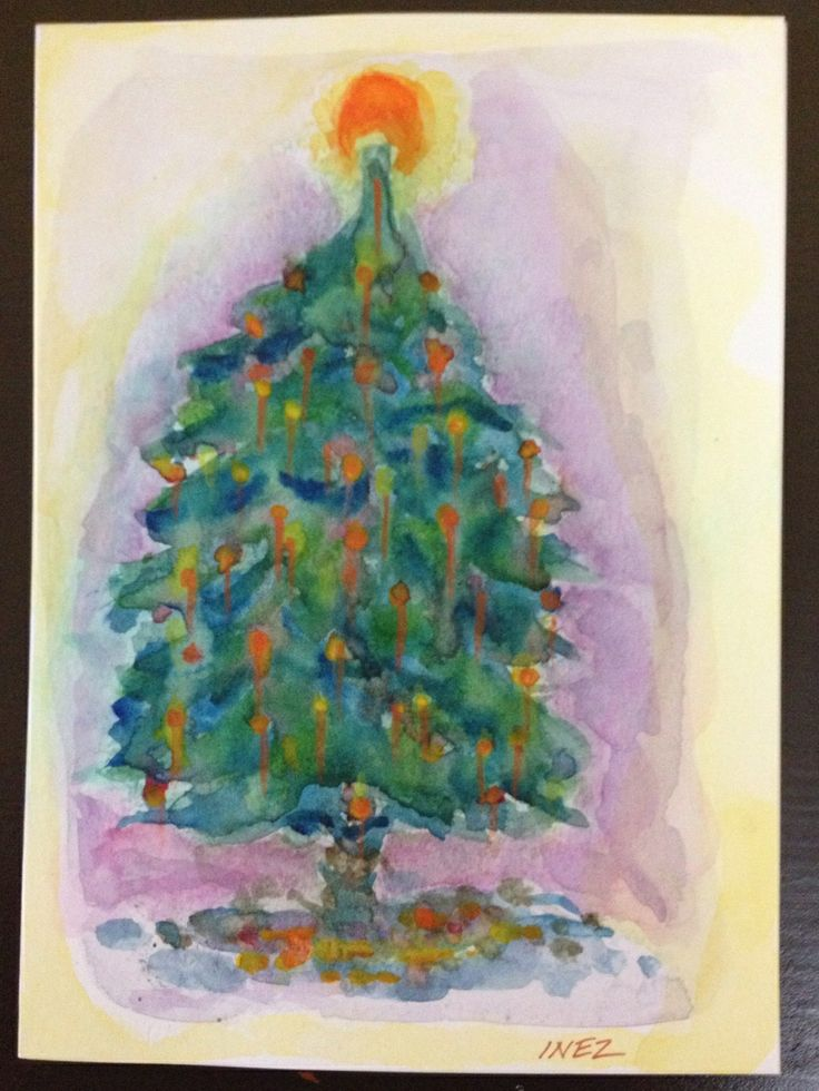 Christmas Tree - Card done in watercolour and coloured pencil,  by Inez Braz.