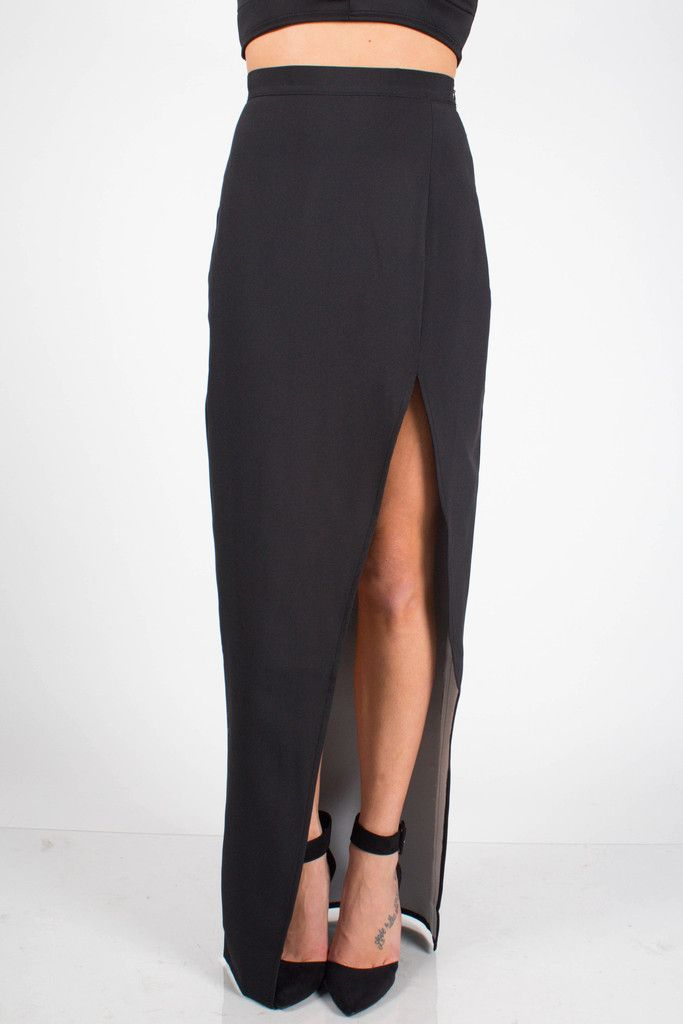 slit maxi skirt black can i has