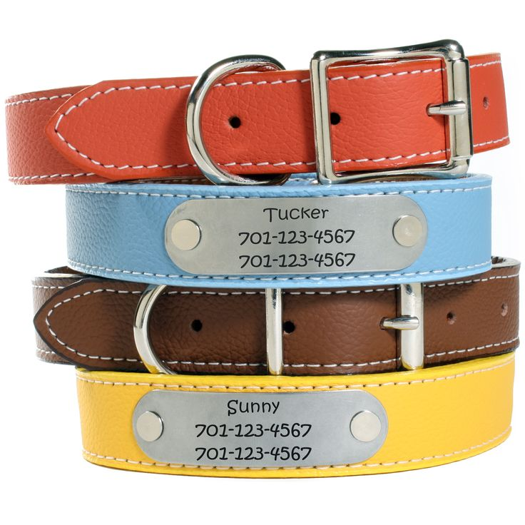 Our Personalized Designer Italian Leather Collars are in a class all by themselves. With eleven beautiful colors to pick from and sizes available for all dog breeds, shapes and sizes.