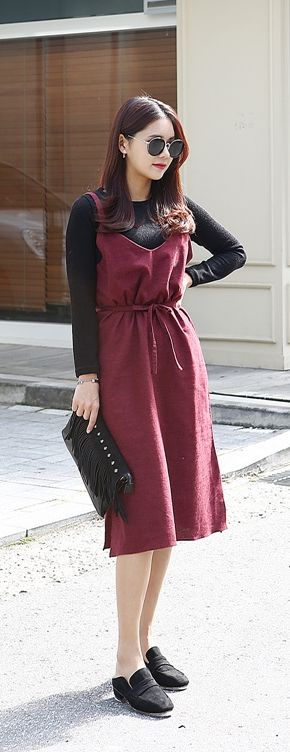 Korean Women Fashion Store / Dress over Blouse / Creative Layering /