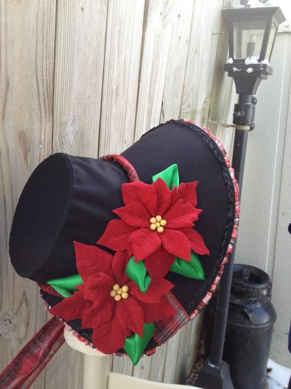 Red Black White Plaid Dickens Caroling Hat by 1800sMillineryshop, $70.00
