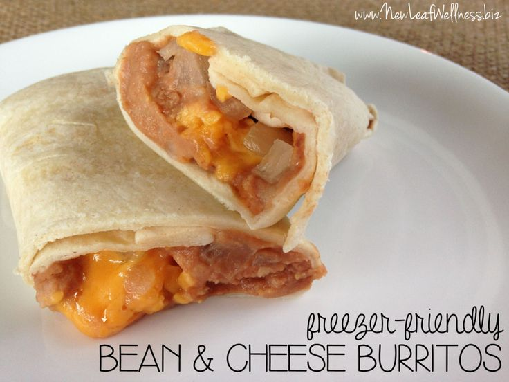 Freezer Meal Bean & Cheese Burritos - makes a great freezer lunch