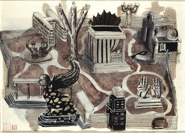 Daniel Santoro Ciudad justicialista Tinta sobre papel 60 x 50 cm 2004