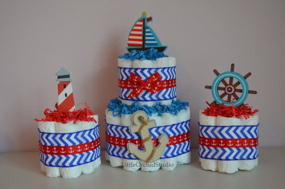 Set of 5 Nautical Diaper Cakes/ Nautical Baby Shower/ Nautical diaper cake/ Nautical theme/ Boys Diaper cake/ Boys baby shower/ Blue and Red/ Little Sailor by LittleOrchidStudio