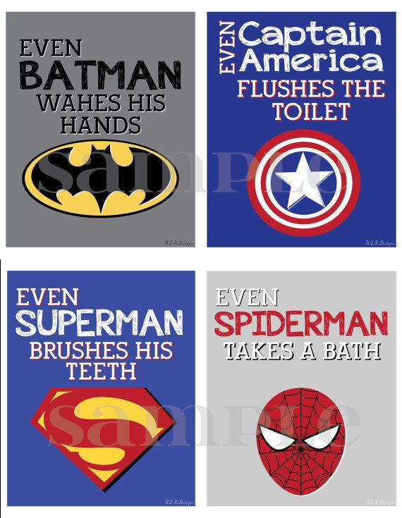 Hey, I found this really awesome Etsy listing at https://www.etsy.com/listing/185455479/superhero-bathroom-prints