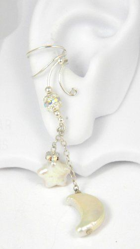 Long Dangle Sterling Silver Ear Cuff with Cold Water Pearl Moon and Star Earring for Right Ear Ear Charms. $65.99
