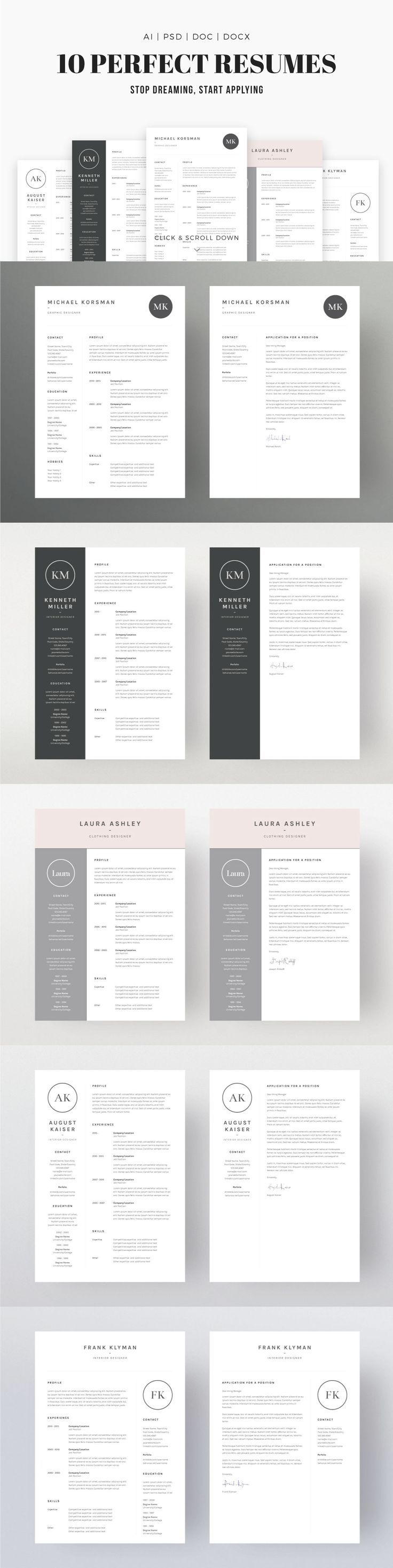 Job Seeker's Dream Bundle: Professional, downloadable resume template designs