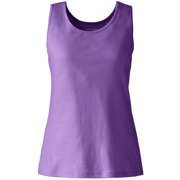 Lands' End Women's Petite Cotton Tank Top ($16) ❤ liked on Polyvore featuring tops, purple, strappy tank, purple tank, lands' end, strappy top and strappy tank top