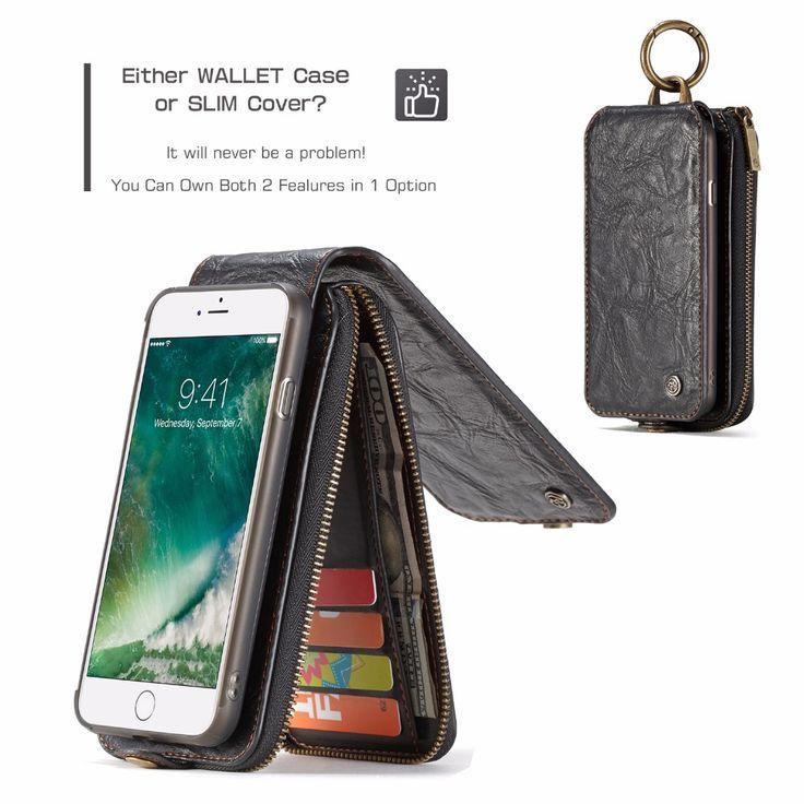 Caseme Multifunctional Detachable Zipper Wallet Card Slots Case For iPhone 7 Plus