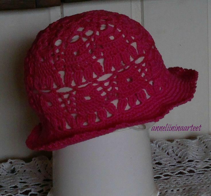 virkattu kesähattu - crochet summer hat, crochet brimhat