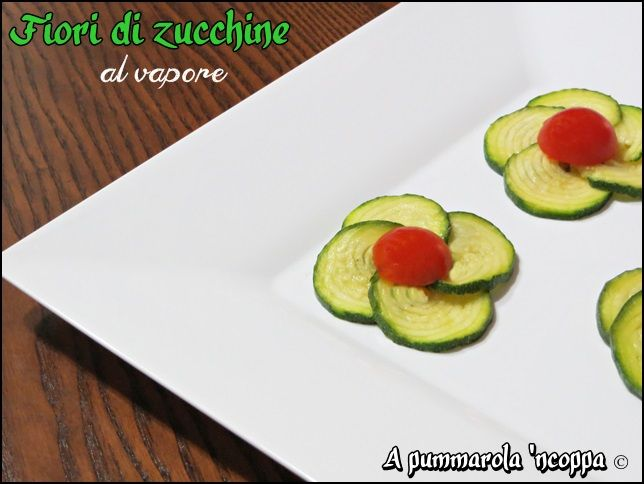 Fiori di zucchine al vapore with our Plate Spigolo #Poloplast