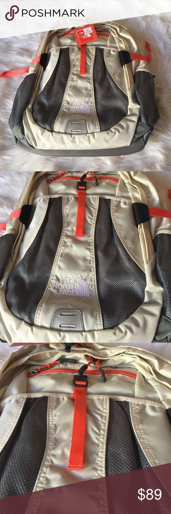 """The North Face Women's Recon White Brand new The North Face Women's Recon backpack in Vintage White/Orange.FlexVent front panel. Hydration port. Large exterior mesh slip pockets. Fits most 15"""" laptops. Side compression straps. Side release buckle closure. Two-way zip closures. Women's specific injection-molded with padded shoulders. 420-denier nylon fabric. 17"""" x 14"""" x 4"""" ✨NO LOW BALLS Please! The North Face Bags Backpacks"""