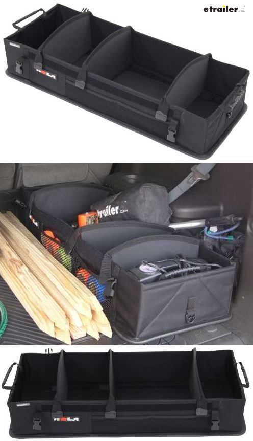 Get it together with these simple and convenient organizers for your vehicle's trunk or rear cargo space. The equipment provides instant organization for a space of any size and can be used for heavy duty as well as light storage including groceries, sports equipment, camping gear, car supplies, files from the office, safety items, etc.
