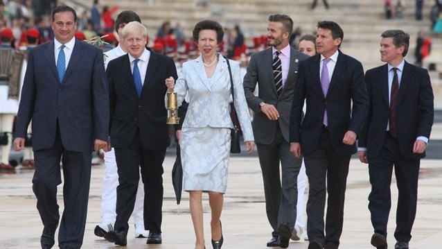 Led by HRH the Princess Royal carrying the Olympic Flame in a lantern, Seb Coe, Minister for Sport and the Olympics Hugh Robertson, Mayor Boris Johnson, London 2012 ambassador David Beckham and the five UK youth representatives departed the Stadium for a reception at the British Ambassador's residence, where the Olympic Flame will remain overnight