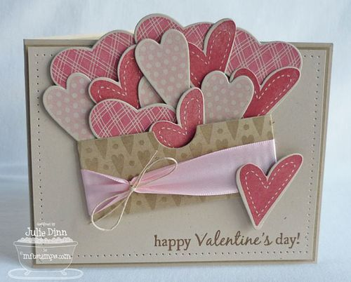 I used the Rustic Hearts Die-namics to cut out a number of hearts in Natural card stock. I stamped the hearts with Pretty in Pink, Regal Rose and Primrose Petals Classic Ink.