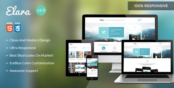 Introducing to you the ELARA Multi-Purpose HTML Template perfectly designed for corporate business projects, however it is great for blogs, magazines, creative portfolios and many other. ELARA Multi-Purpose HTML Template can be used for websites based on any framework and any language. You can create themes for WordPress, Drupal, Django, Expression, Joomla CMS or even custom CMF (Symfony, Cake PHP, Ruby on Rails).