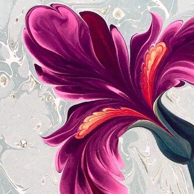 Iris Flower - Marbling Artist of Ferdowsi Çalkanoğl
