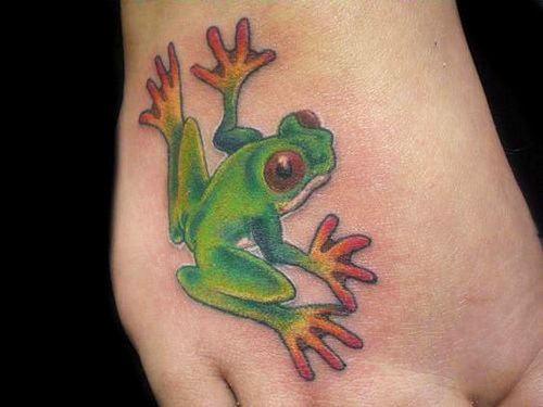 Girls Foot Frog Tattoo Trend