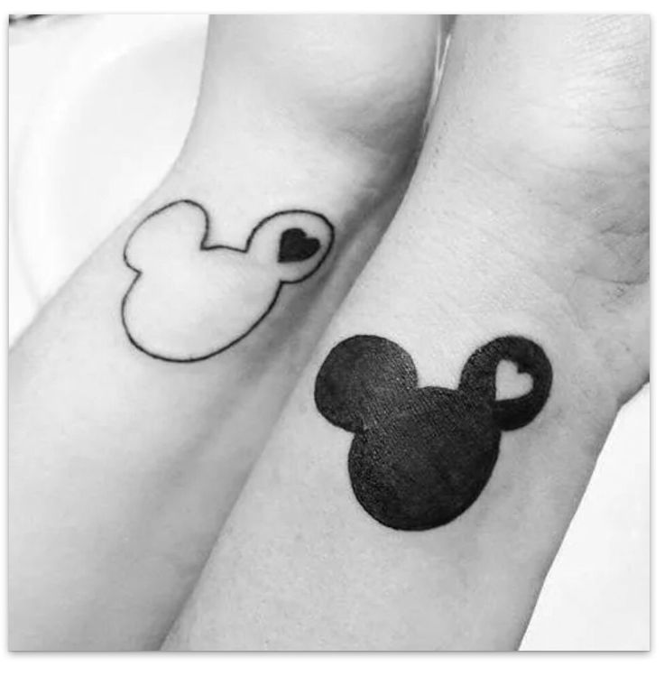 Mickey and minnie yin and yang couple tattoo i want to for Yin yang couples tattoos