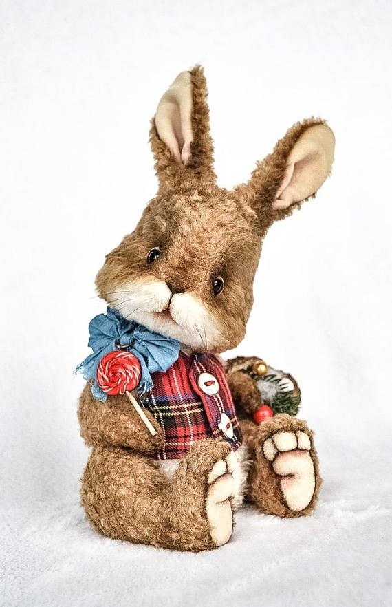 Artist teddy bear toy artist rabbit bunny toy stuffed rabbit toy stuffed animal toy plush bear collectible teddy toy jointed ooak teddy This bunny is already sold. You can order similar one! Material: curly viscose (Germany). Stuffing: sawdust and metal pellets Weight: about 10 ounce