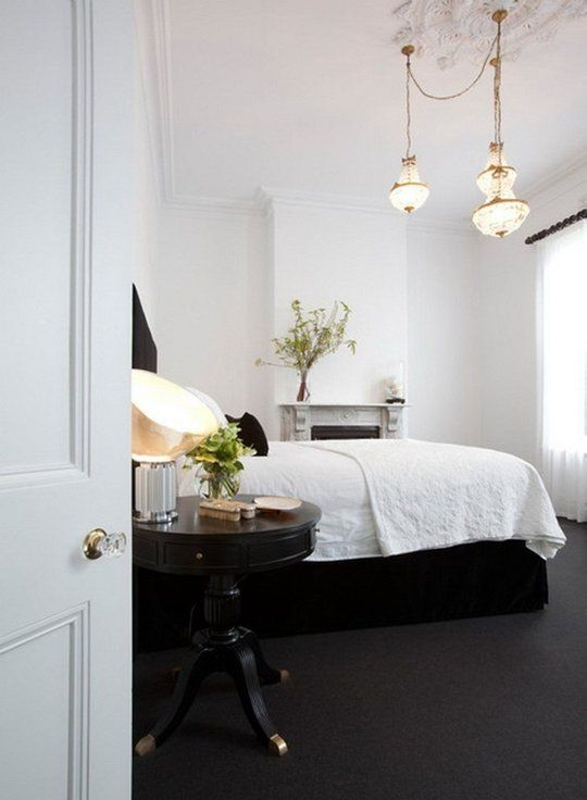 dark carpet, hanging lights inspo //Believe It or Not: 9 Bedrooms Absolutely Killing It With Wall-to-Wall Carpet