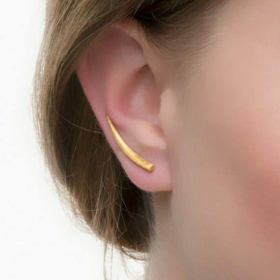 Comet ορειβάτες αυτί, χρυσό ορειβάτες αυτί, 925 ασημένια, αυτί σκουλαρίκια μανσέτα, μινιμαλιστικό σκουλαρίκια, μινιμαλιστικό κοσμήματα, χρυσό αντιολισθητικές αλυσίδες στο αυτί
