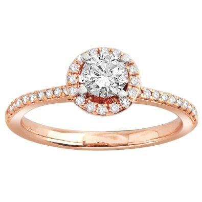14k Rose Gold 1/2 Carat Round-Cut Center Diamond Halo Bridal Ring (3/4 cttw, H-I Color, I1 Clarity) - http://www.amazon.com/dp/B009C6YTR8/?tag=pinterest0e50-20