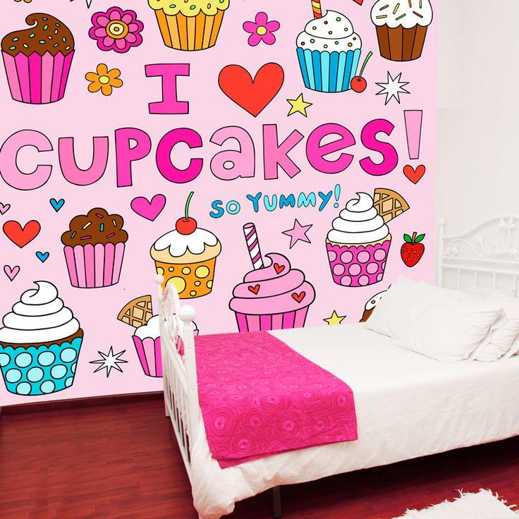 Fotobehang Cupcakes | Maak het jezelf eenvoudig en bestel fotobehang voorzien van een lijmlaag bij YouPri om zo gemakkelijk jouw woonruimte een nieuwe stijl te geven. Voor het behangen heb je alleen water nodig!   #behang #fotobehang #print #opdruk #afbeelding #diy #behangen #cupcakes #illustratie #cartoon #roze #cupcake #meisje #meidenkamer #meisjeskamer schattig