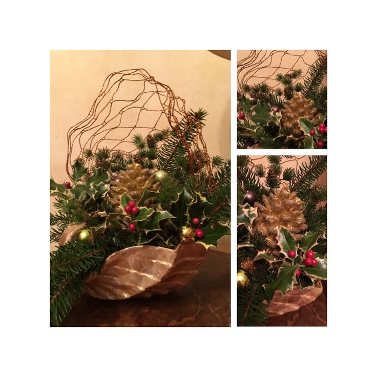 Centrotavola dorato natalizio