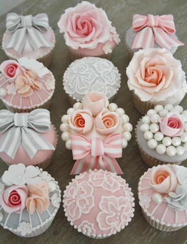 cupcakes decoration, obviously not in pink but cream and ivory. X