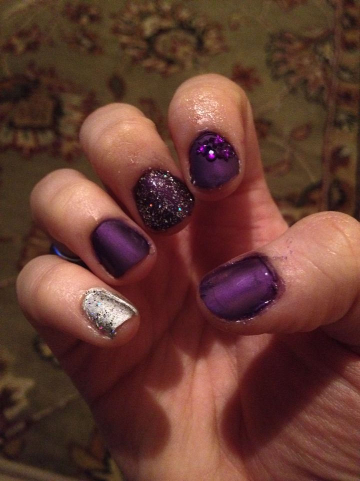 Purple and silver designs