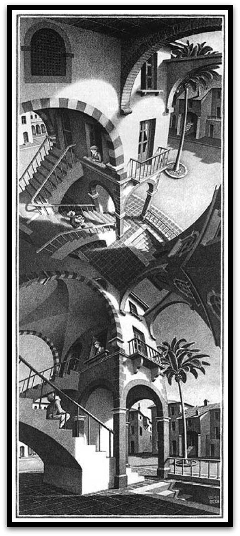 High and Low by MC Escher, 1947 I love his work and I can stare at it for hours but its always ends up giving me a headache.
