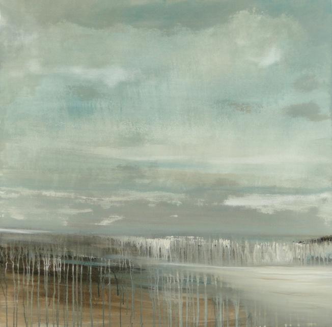 """Coast, Wet Skies""  40"" x 40""   Acrylic on Canvas, Lee Monts"