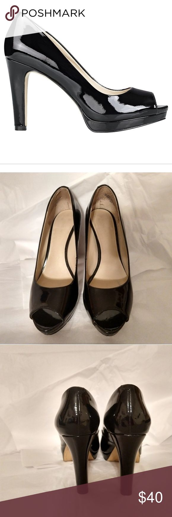 """NINE WEST black patent leather heel @katherineasb NINE WEST Dreenar, black, patent leather heel, leather upper, man made balance, peep toed, 3.5"""" heel. Small white scuff outer right heel (not noticable at distance), wear inside heel at toes from prior padding, wear on bottom of shoes (see pics). Otherwise, gorgeous shoes in great condition. Nine West Shoes Heels"""